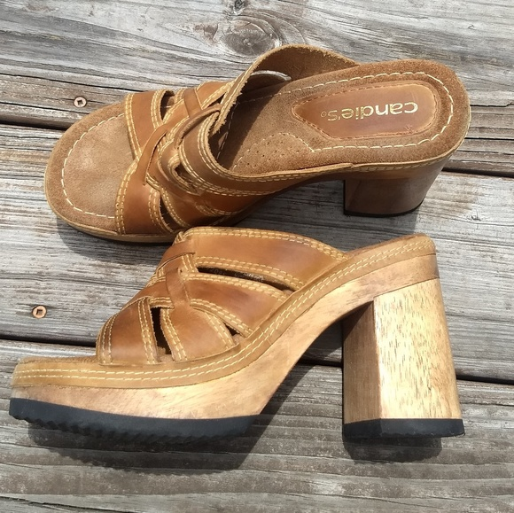 43860f05cd083 Vintage 90's Candie's Leather Wood Platform Size 9